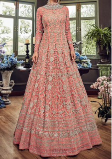 Snow White Designer Party Wear Anarkali Suit