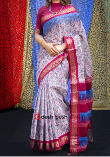 Boutique Designer Block Printed Maslais Cotton Saree