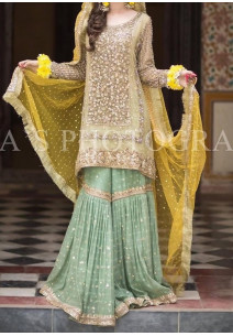 Mehendi Embroidered Wedding Master Copy Pakistani Dress