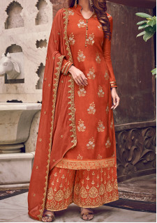 Swagat Violet Designer Party Wear Palazzo Suit